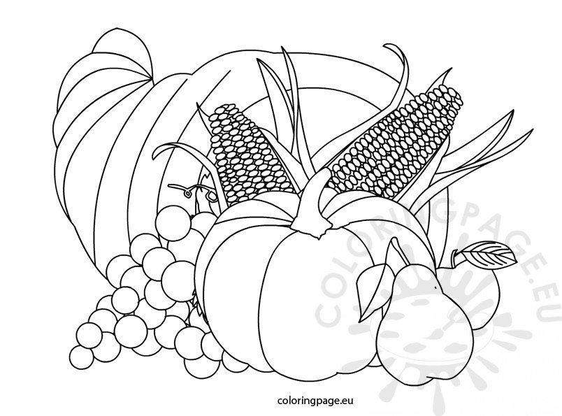 Thanksgiving Cornucopia Coloring Page Coloring Page