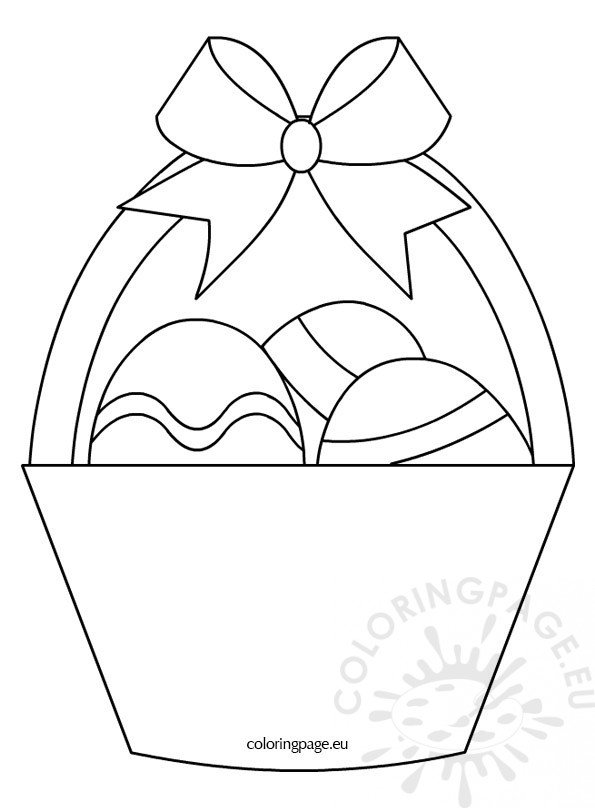 Basket With Three Easter Eggs Coloring Page