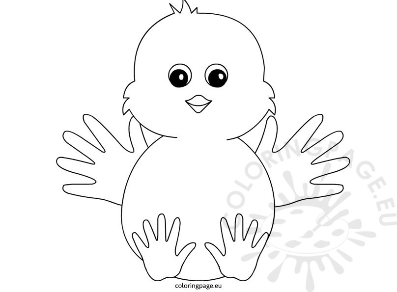 handprint art for kids – chick – coloring page