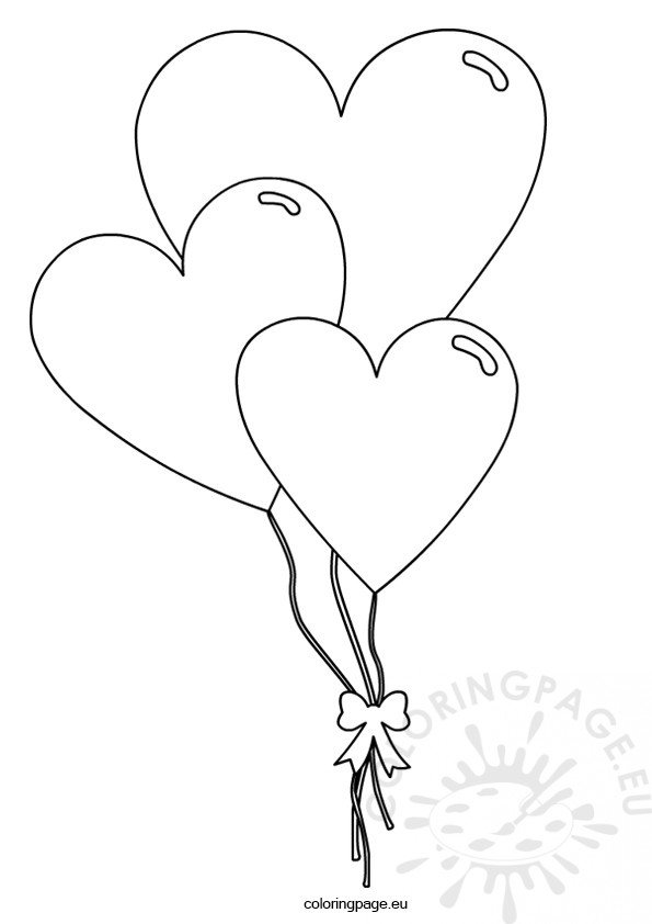 Valentine S Day Heart Shaped Balloons Coloring Page