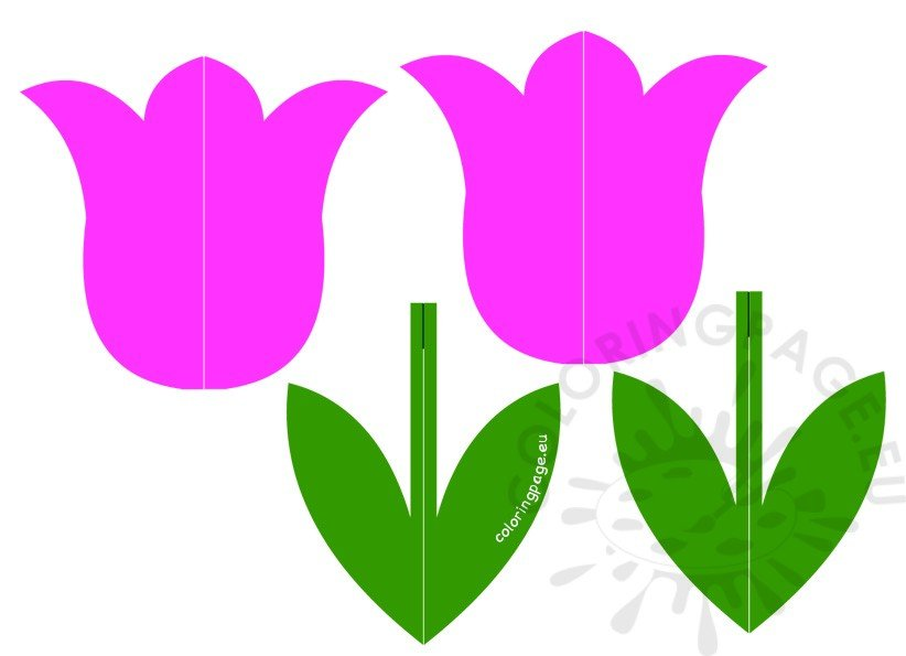 Spring Crafts For Kids 3D Paper Tulip Coloring Page