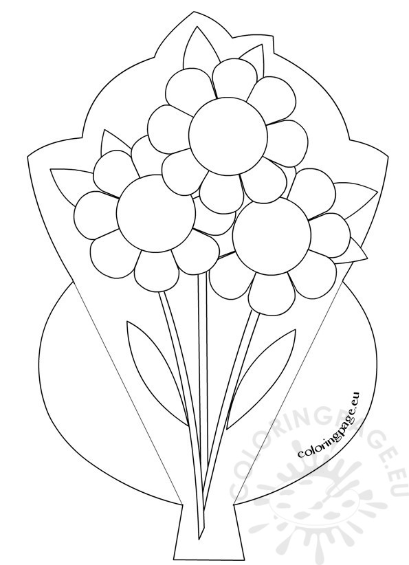 Mother's Day Flower Bouquet   Coloring Page