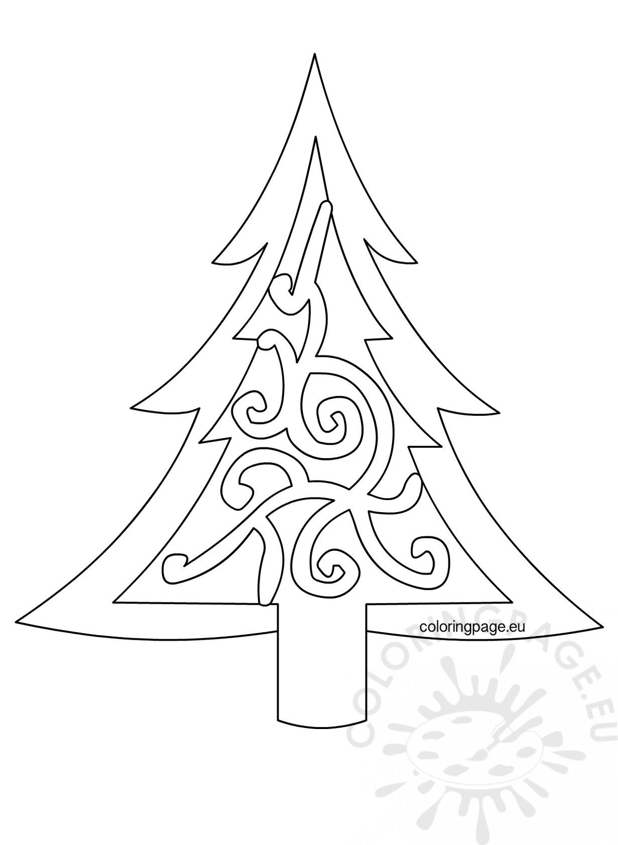 Xmas Tree Template Printable Coloring Page