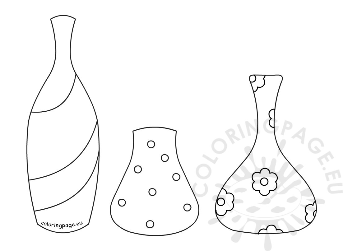 Different Types Flower Pots Coloring Page