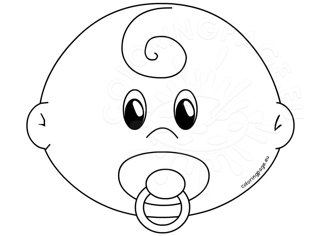 Baby Face With Pacifier Template Coloring Page