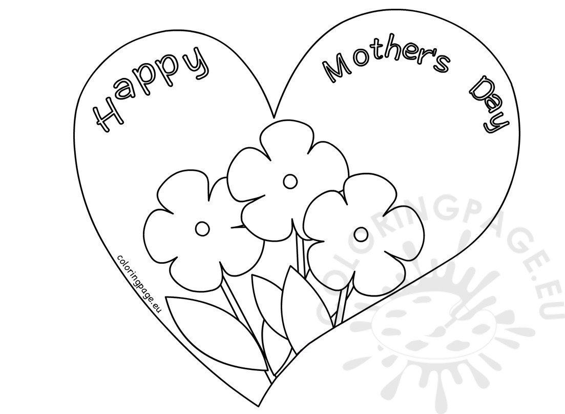 Flower Heart Mother S Day Card Coloring Page