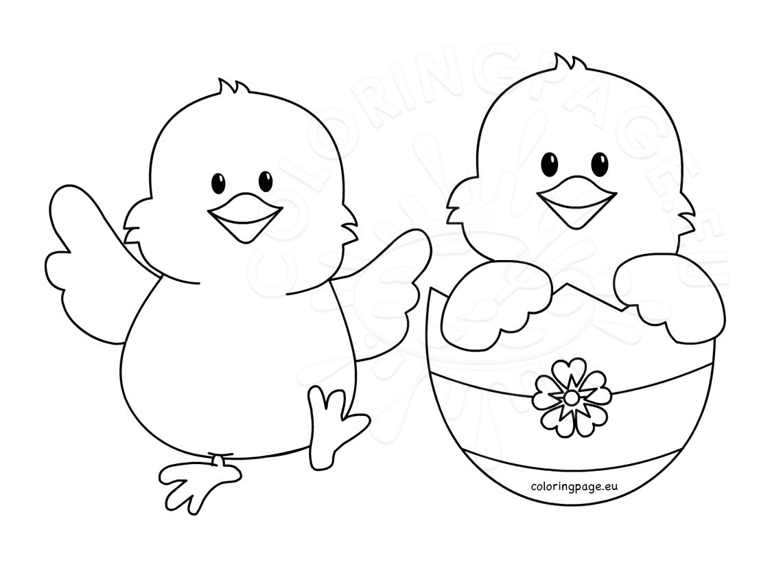 Happy Easter Chicks Cartoon Coloring Page