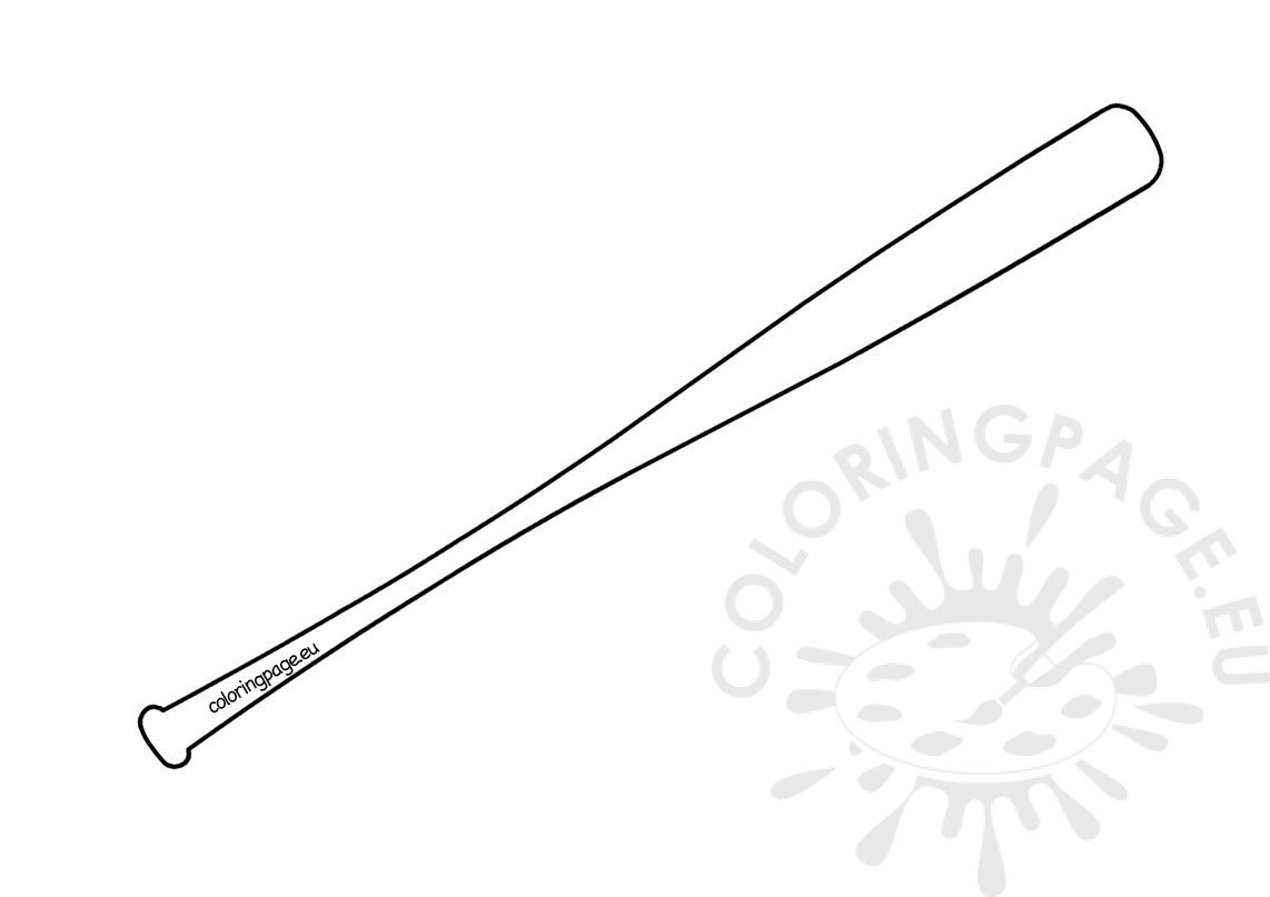 Baseball Bat Template Printable Coloring Page