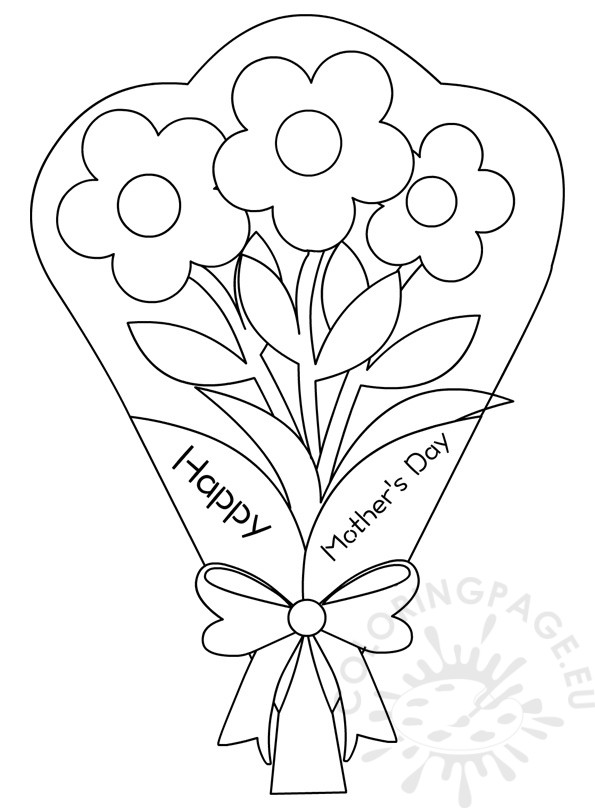 Flowers bouquet Coloring Pages Mother's Day   Coloring Page