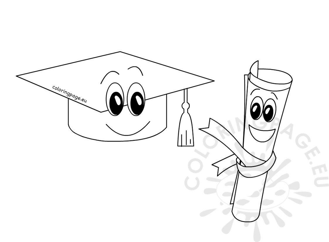 Cartoon Graduation Cap And Diploma Coloring Page
