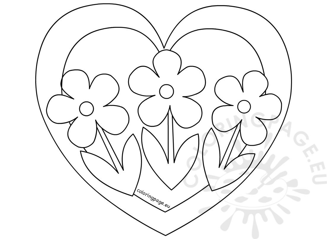 Heart With Three Flowers Coloring Page Coloring Page