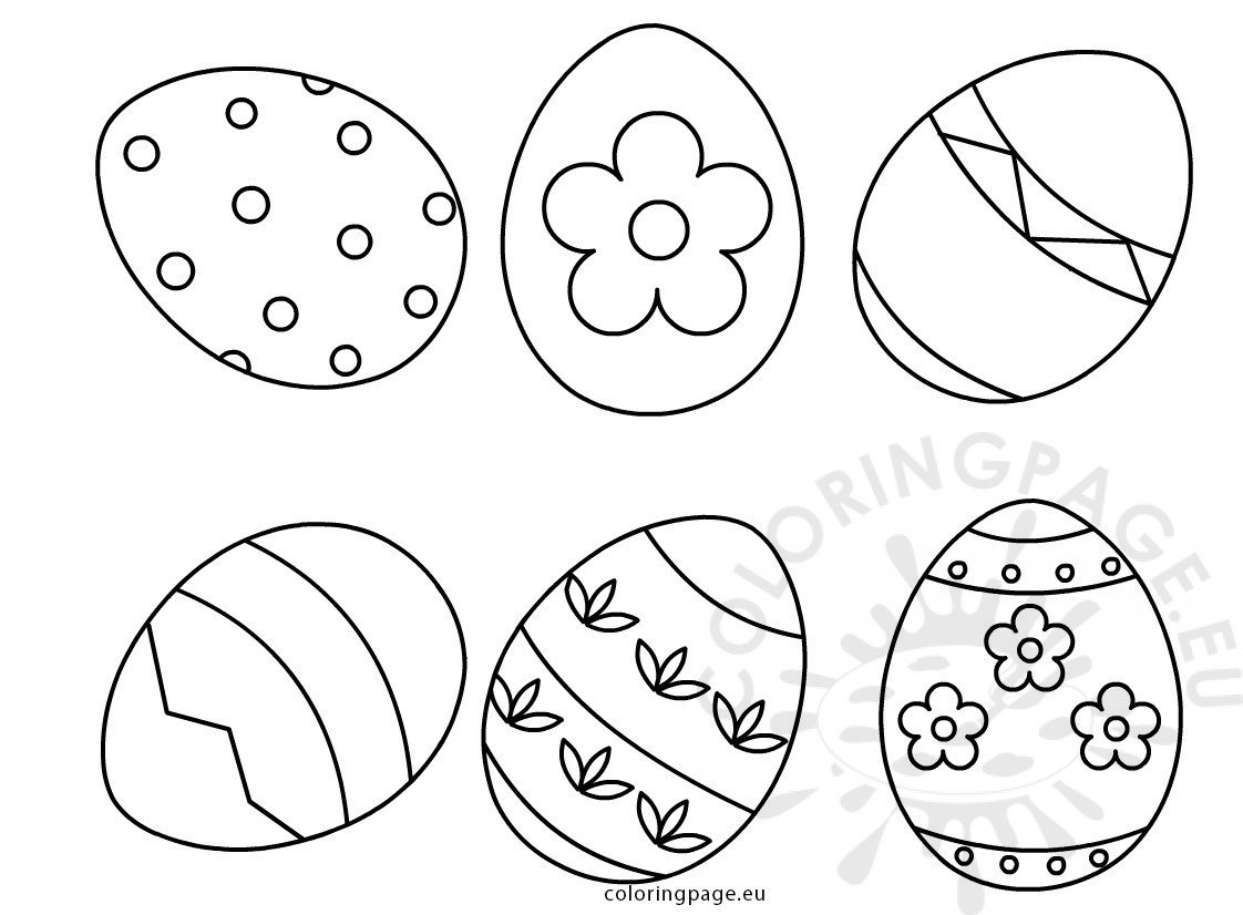 Set Six Easter Eggs Shapes Coloring Page