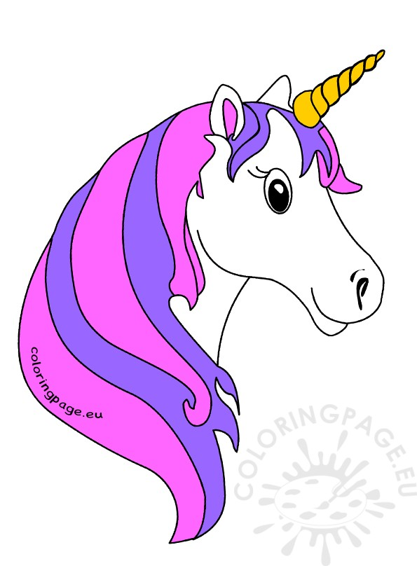 Cute Unicorn Face Clipart Coloring Page