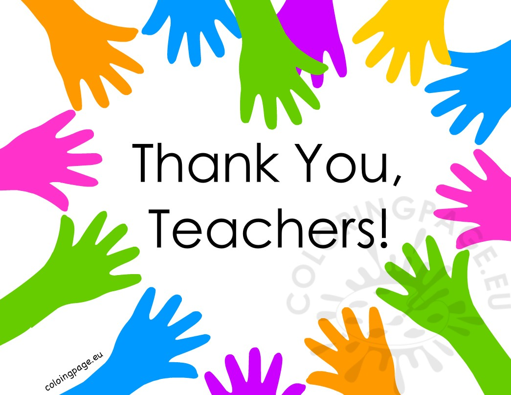 Thank You Teachers Hand Heart Coloring Page