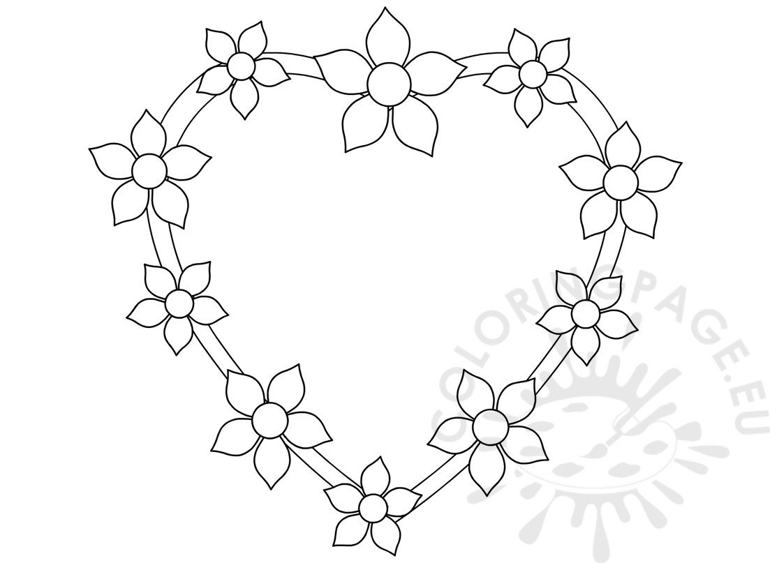 Heart With Flowers Design Template Coloring Page