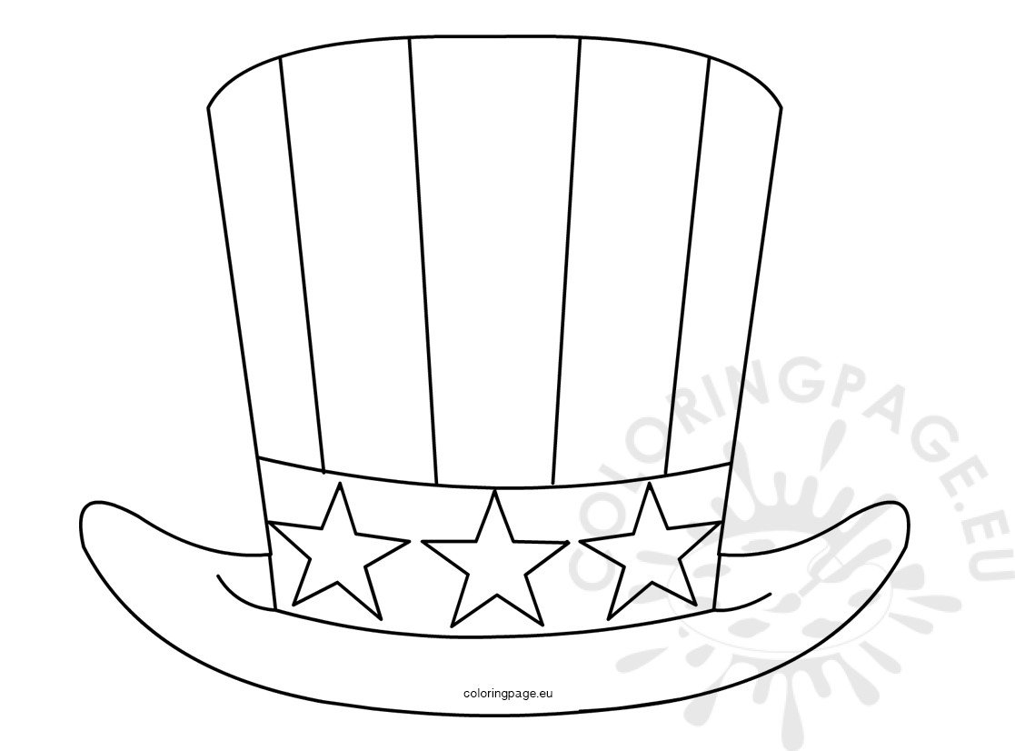 Patriotic Uncle Sam Hat 4th July Coloring Page