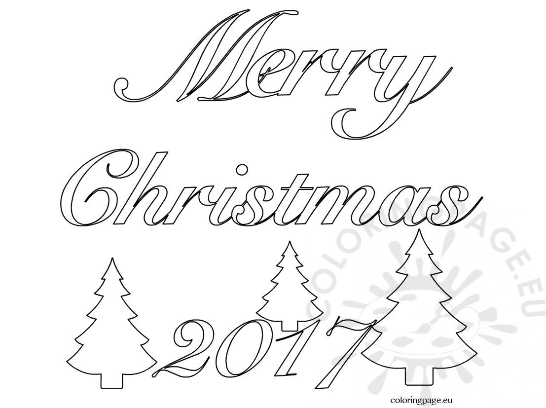 Merry Christmas Clip Art Word Coloring Page
