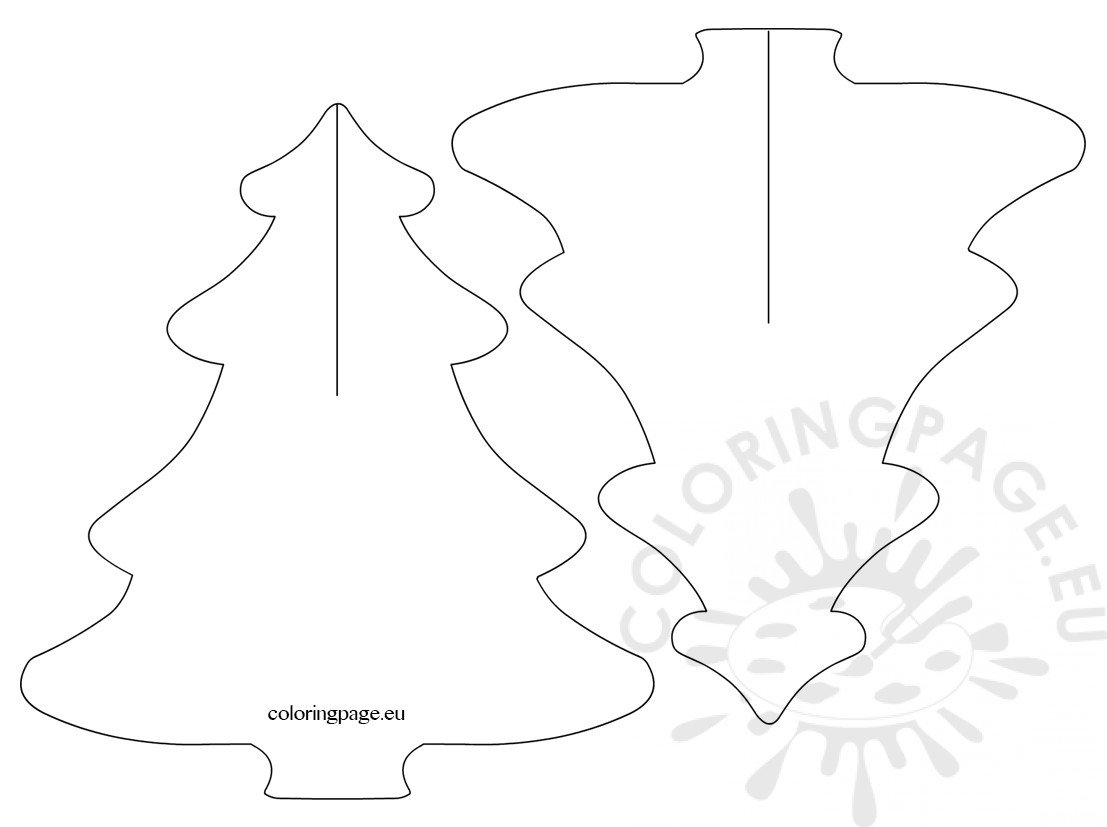 3d Christmas Tree Templates Coloring Page