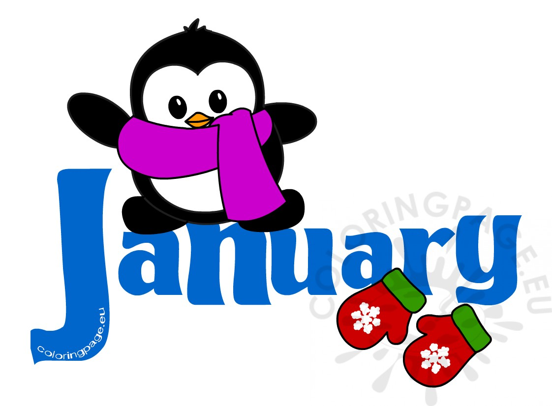 January Month Penguin Clip Art Coloring Page
