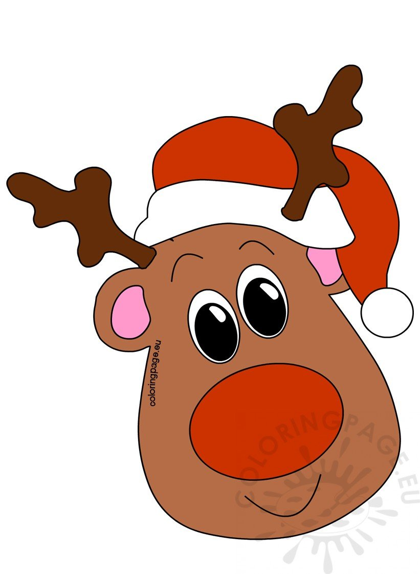 Reindeer head santa hat coloring page, fish coloring pages