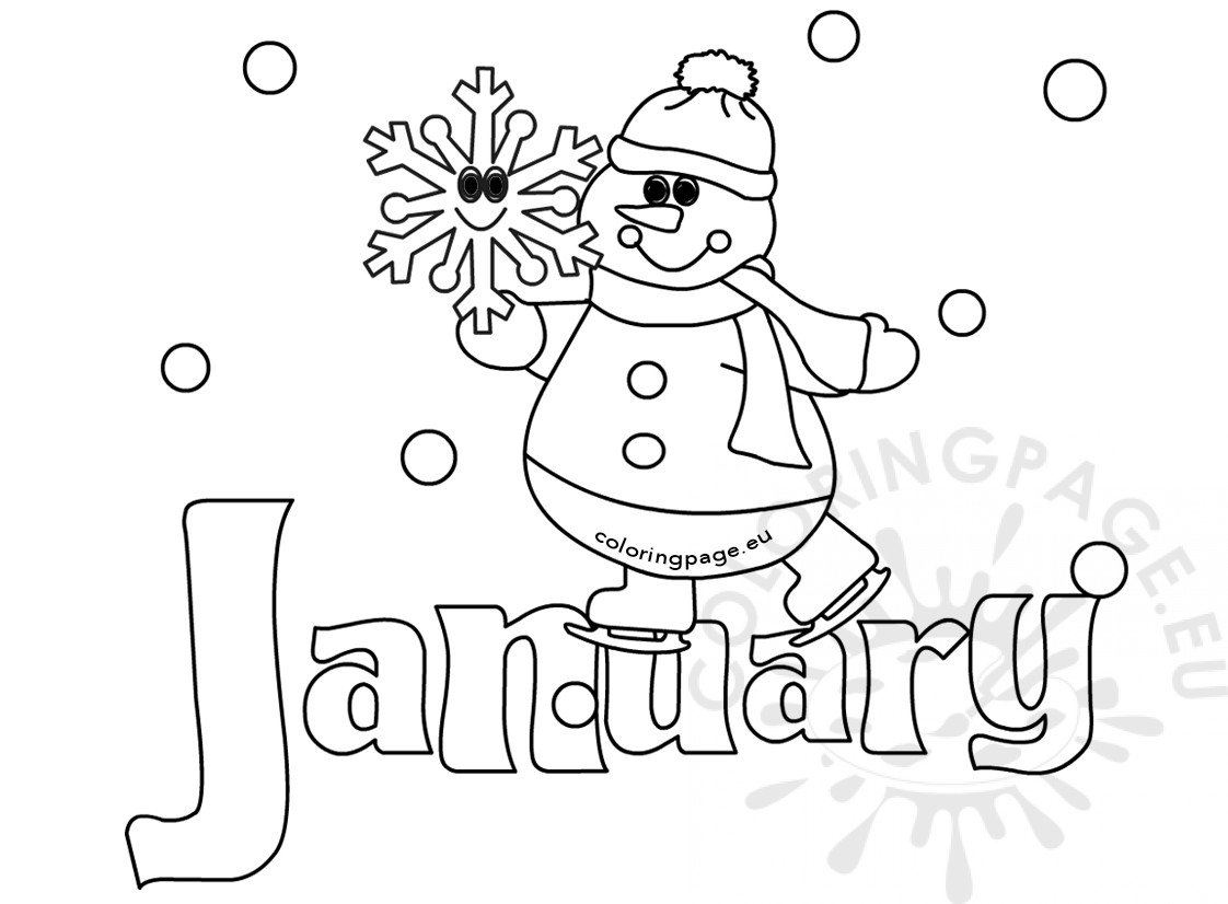 Winter Coloring Page January Snowman Coloring Page