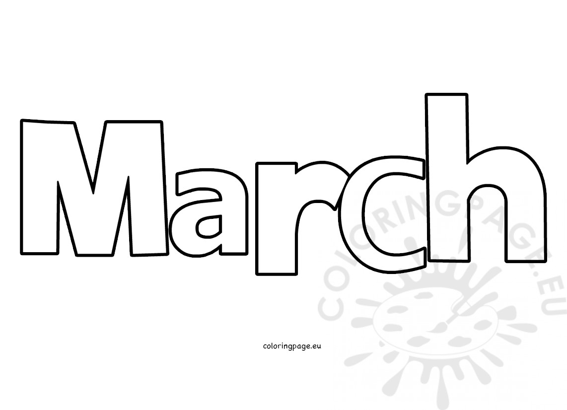 March Month Clipart Image Coloring Page