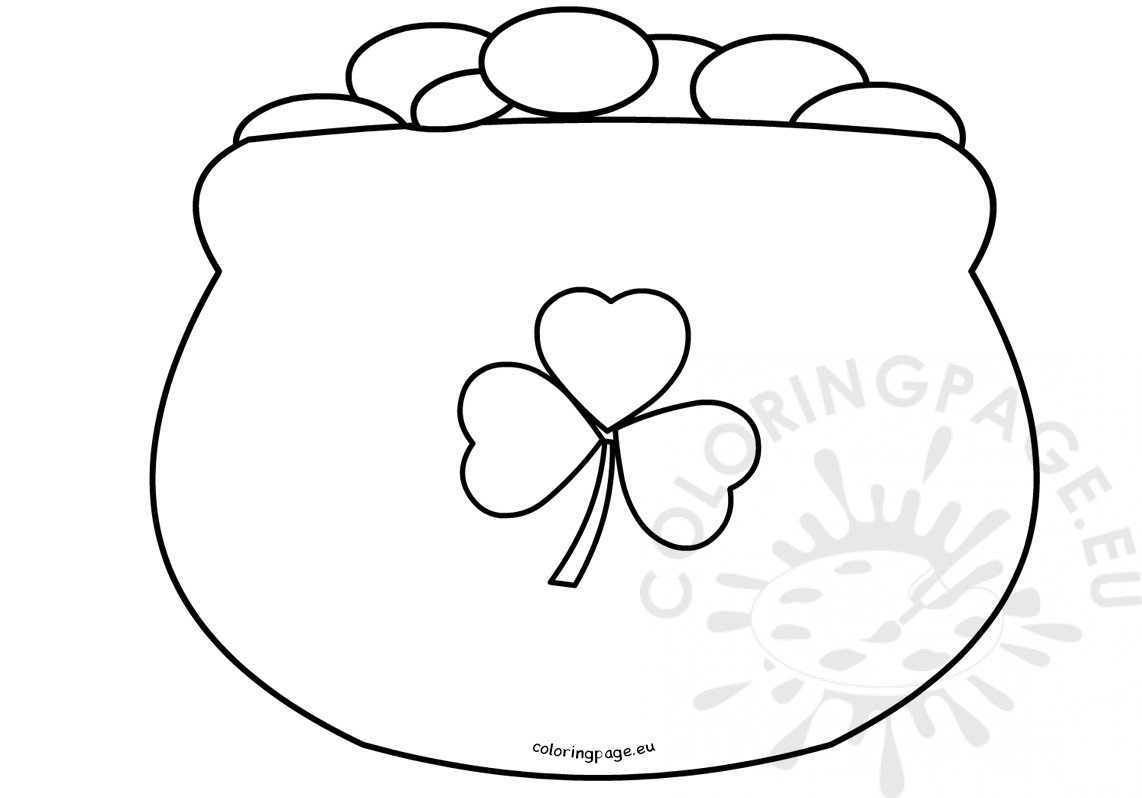 St Patrick S Day Coloring Page Pot Of Gold Outline