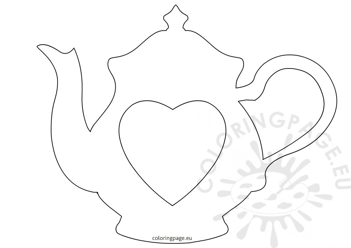 Teapot With Heart Printable Outline For Crafts Coloring Page
