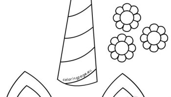 Unicorn Horn Ears And Flowers Printable Coloring Page