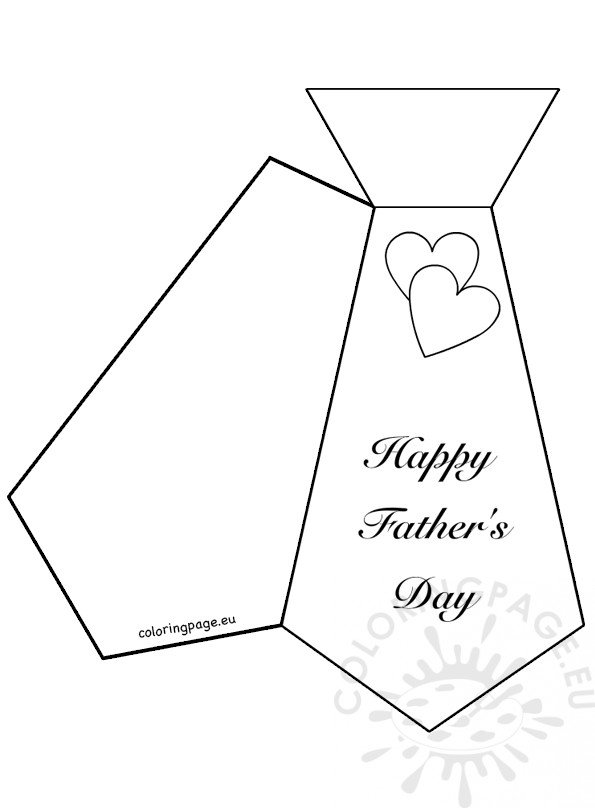 Necktie Fathers Day Card Template Coloring Page