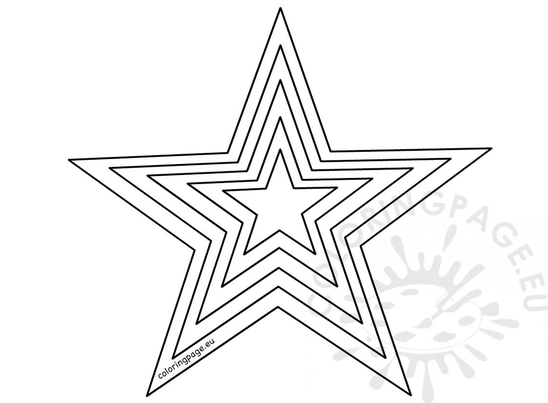 Printable Size Star Template Coloring Page