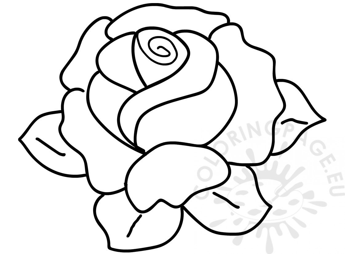 Flower Coloring Page Rose With Leaves Image Coloring Page