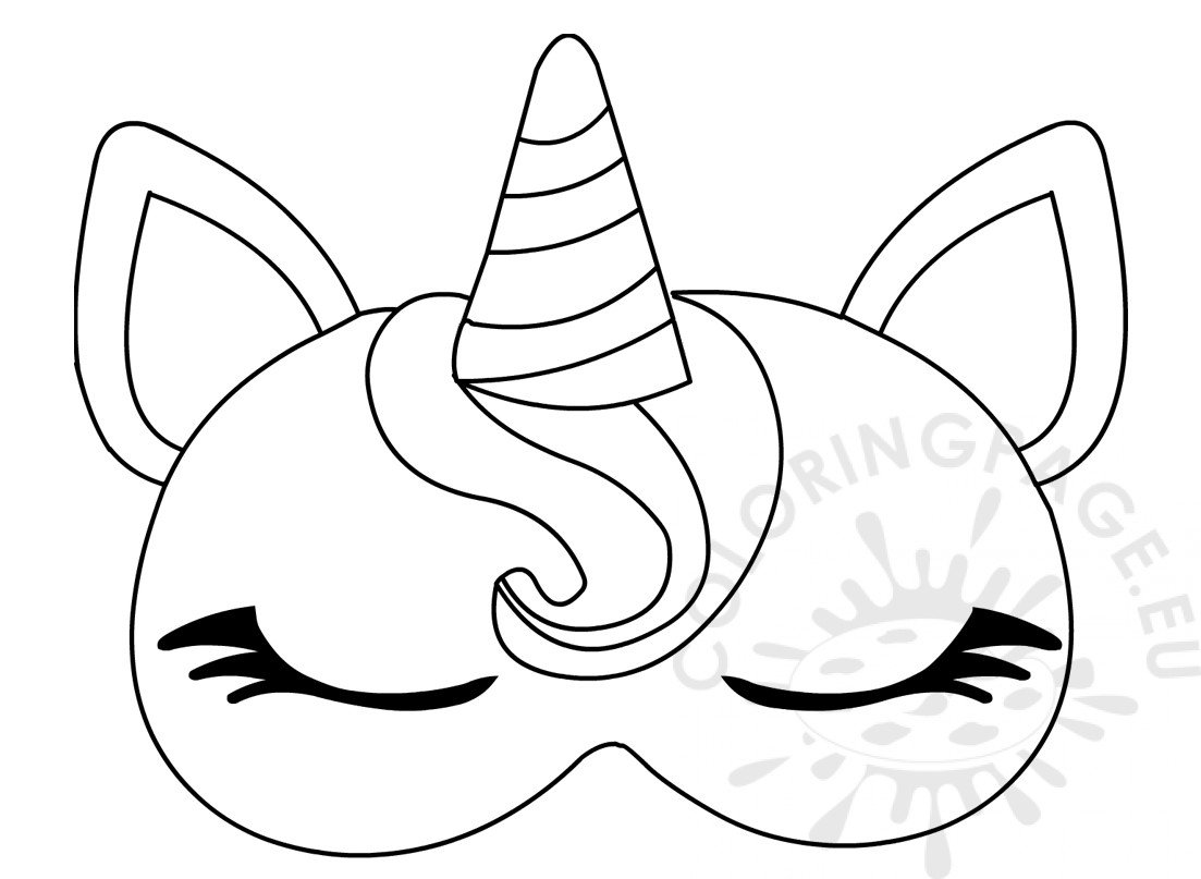 Unicorn Sleep Eye Mask Template Coloring Page