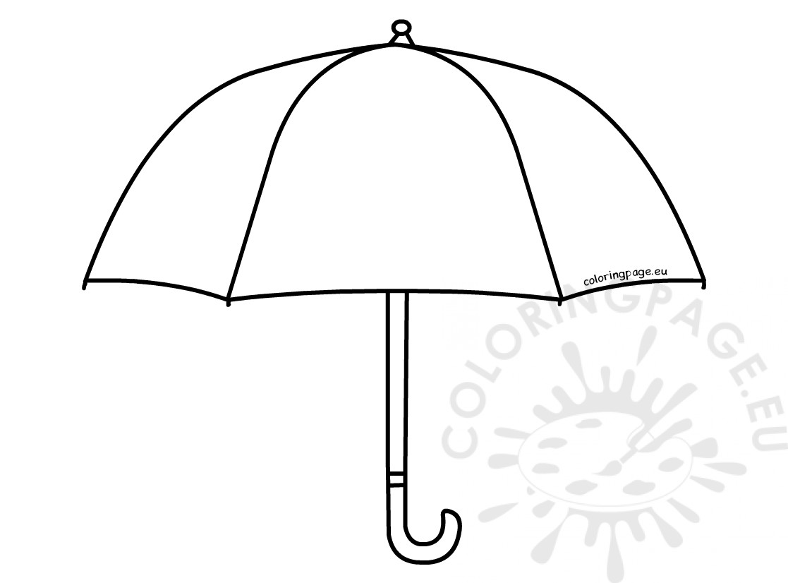 Small Umbrella From Rain Template Coloring Page