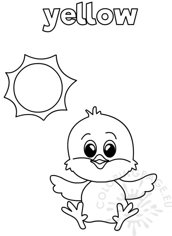 Yellow coloring worksheet for Kindergarten – Coloring Page