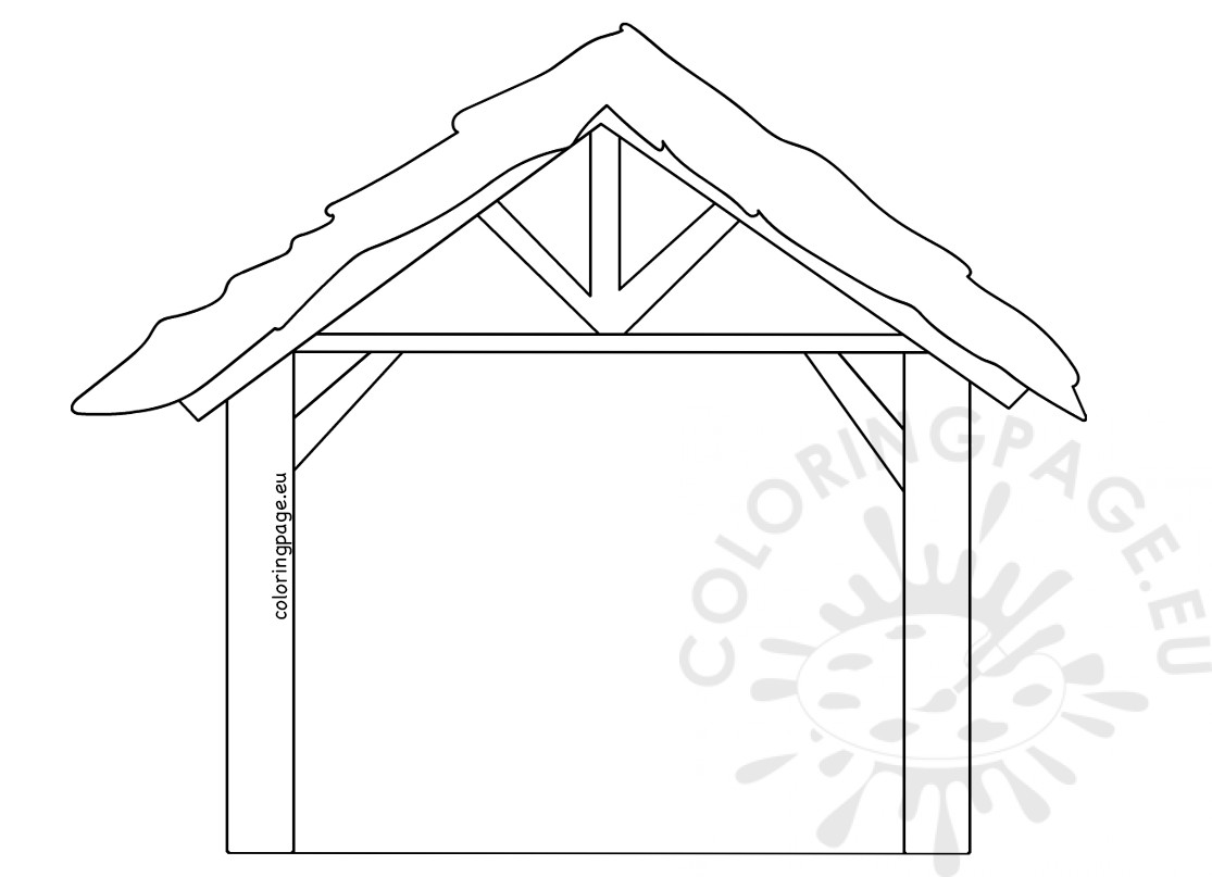 Isolated Wooden Manger Template Printable Coloring Page