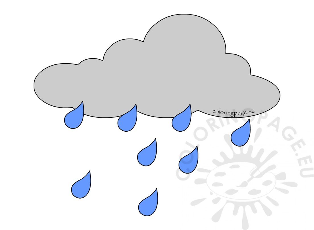 Rain Cloud Weather Printable Coloring Page
