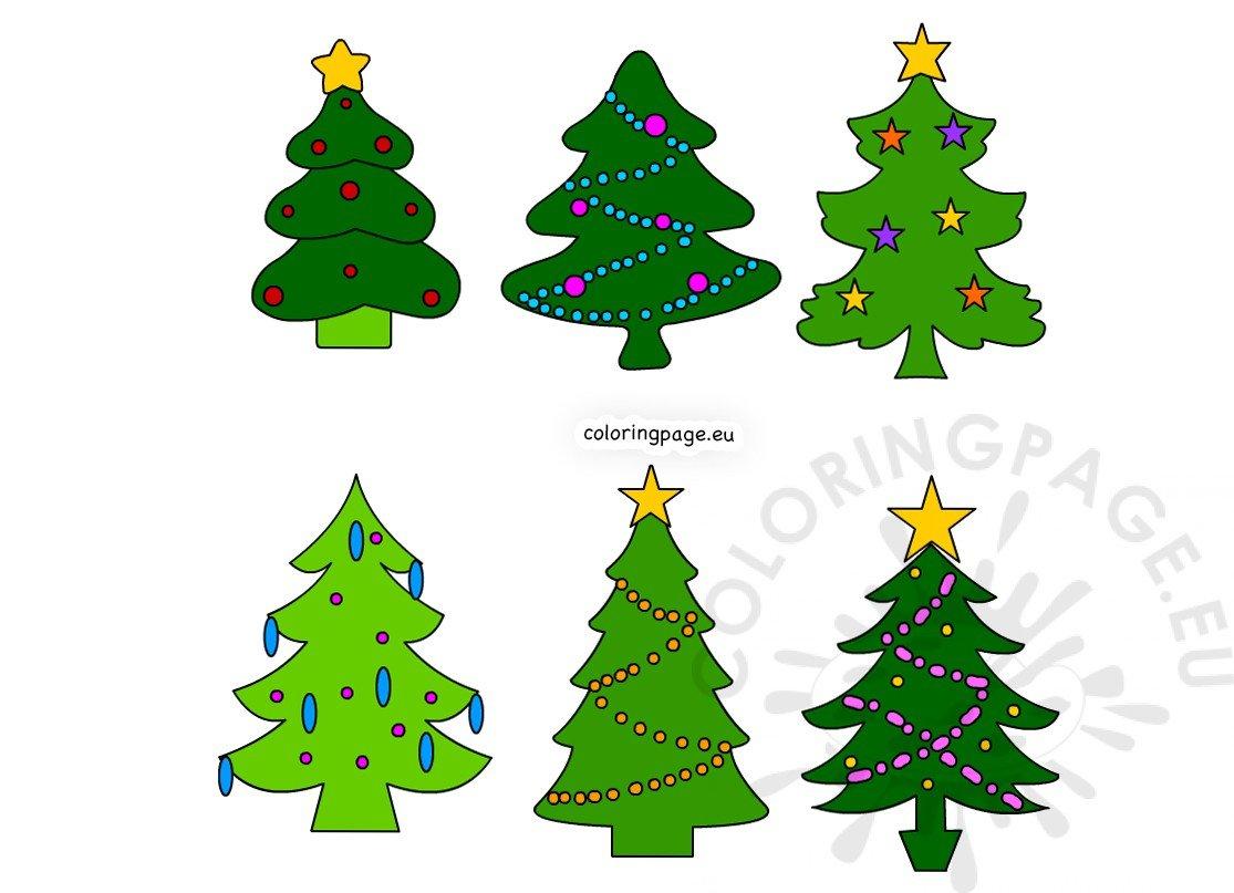 Xmas Trees Small Christmas Trees Printable Coloring Page
