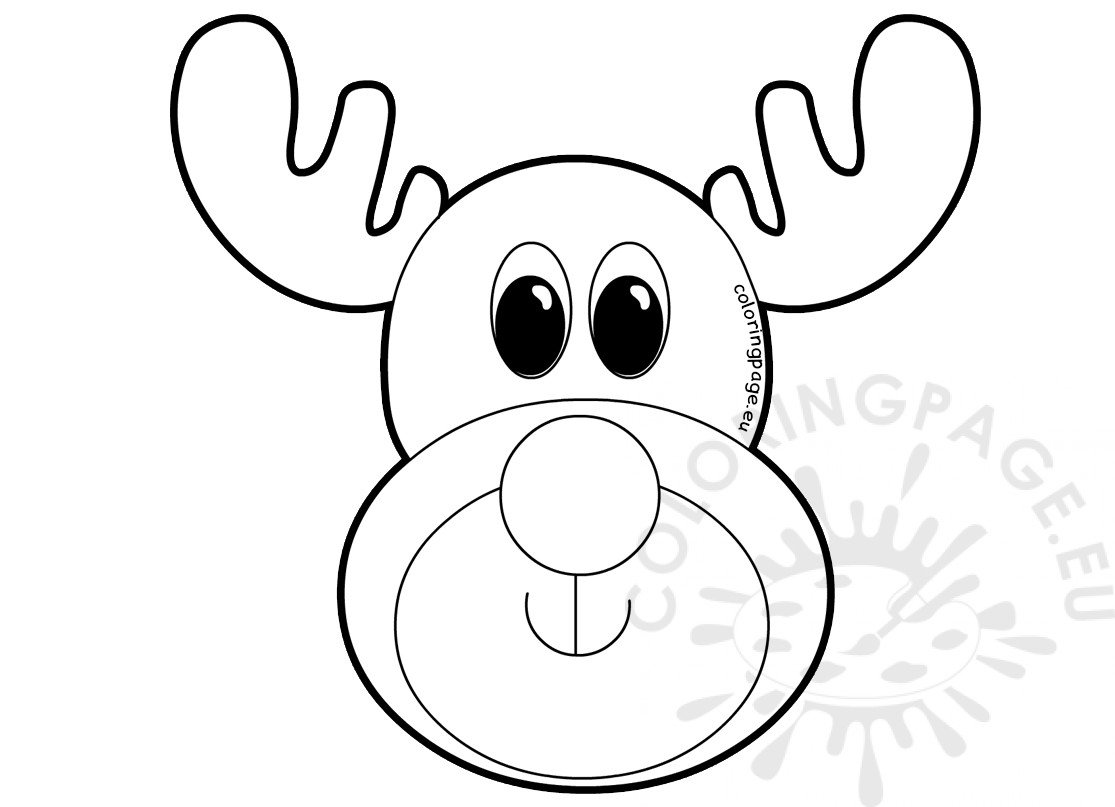 Reindeer Rudolph Christmas Face Printable Coloring Page
