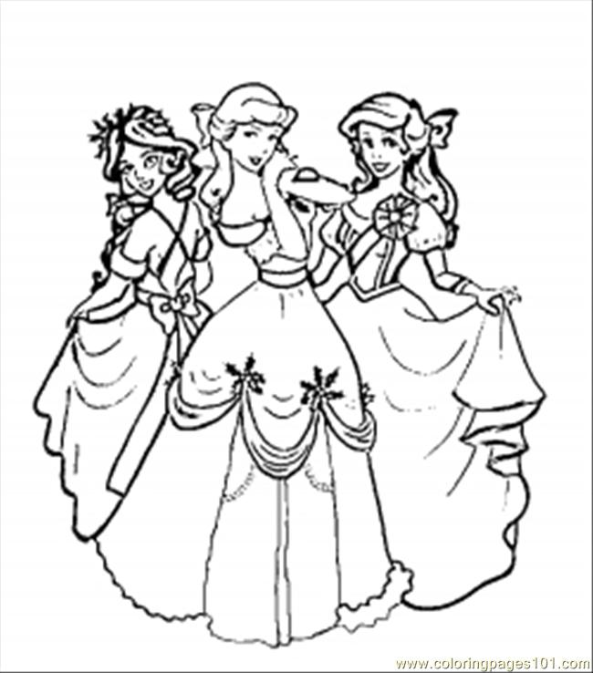 coloring pages christmas disney princesses (cartoons