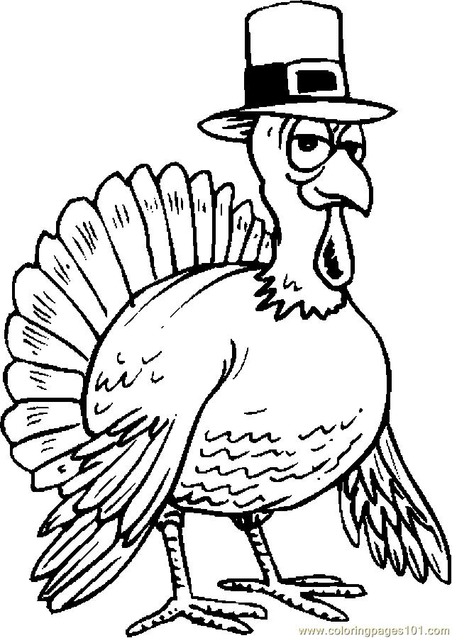 Turkey Wearing Hat Coloring Page Free Thanksgiving Day