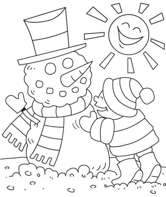 A-Cute-Kids-Play-Snowman-Coloring-Pages