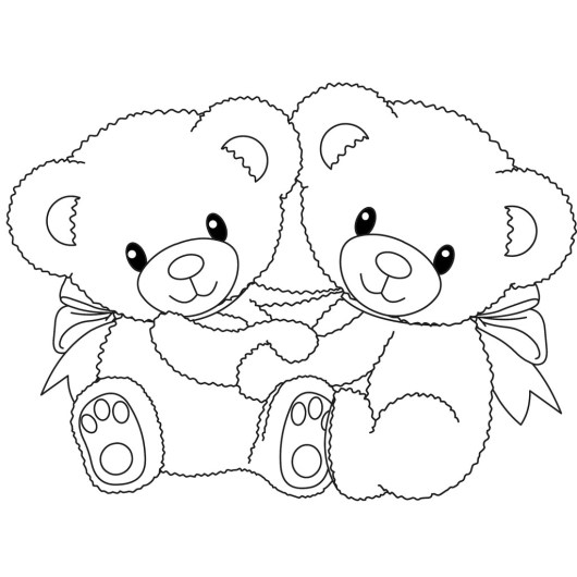 Twin-Teddy-Bear-Coloring-Pages
