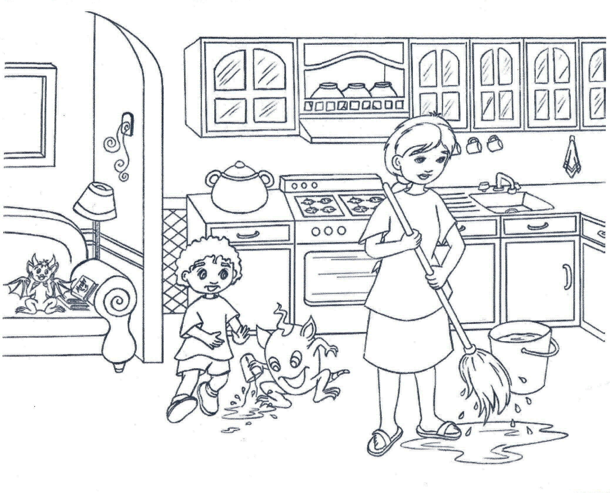 Kitchen Coloring Pages 01