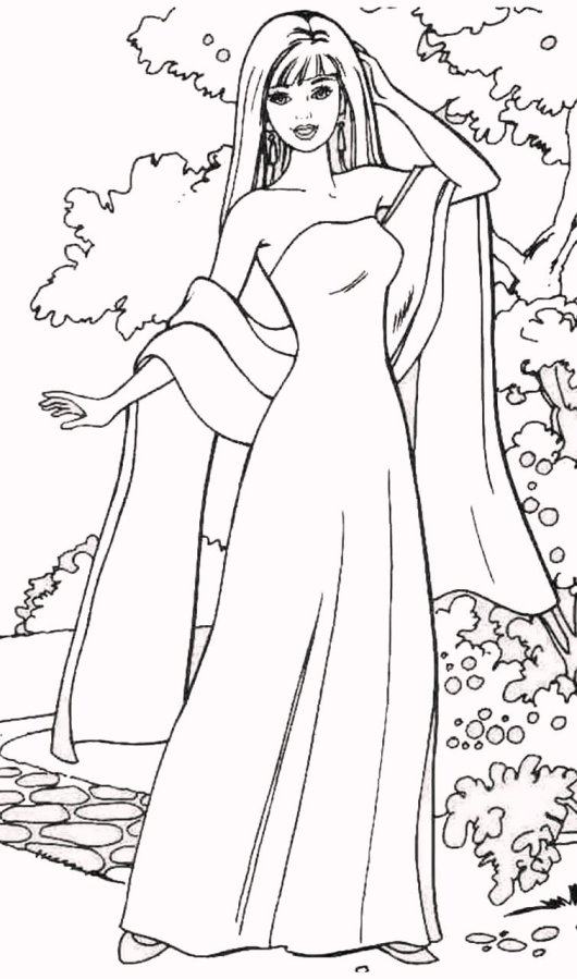 Fashion dress coloring pages for your little girls for Fashion barbie coloring pages