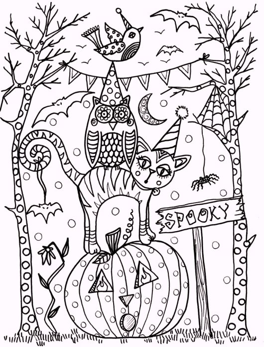 New Vintage Halloween Art Coloring Pages - Coloring Pages