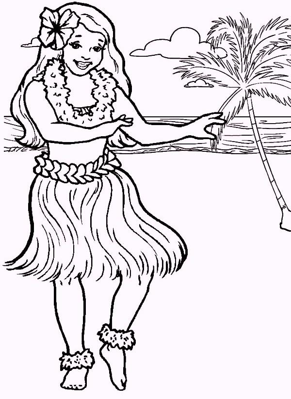 hula hawaiian girl dancing coloring pages