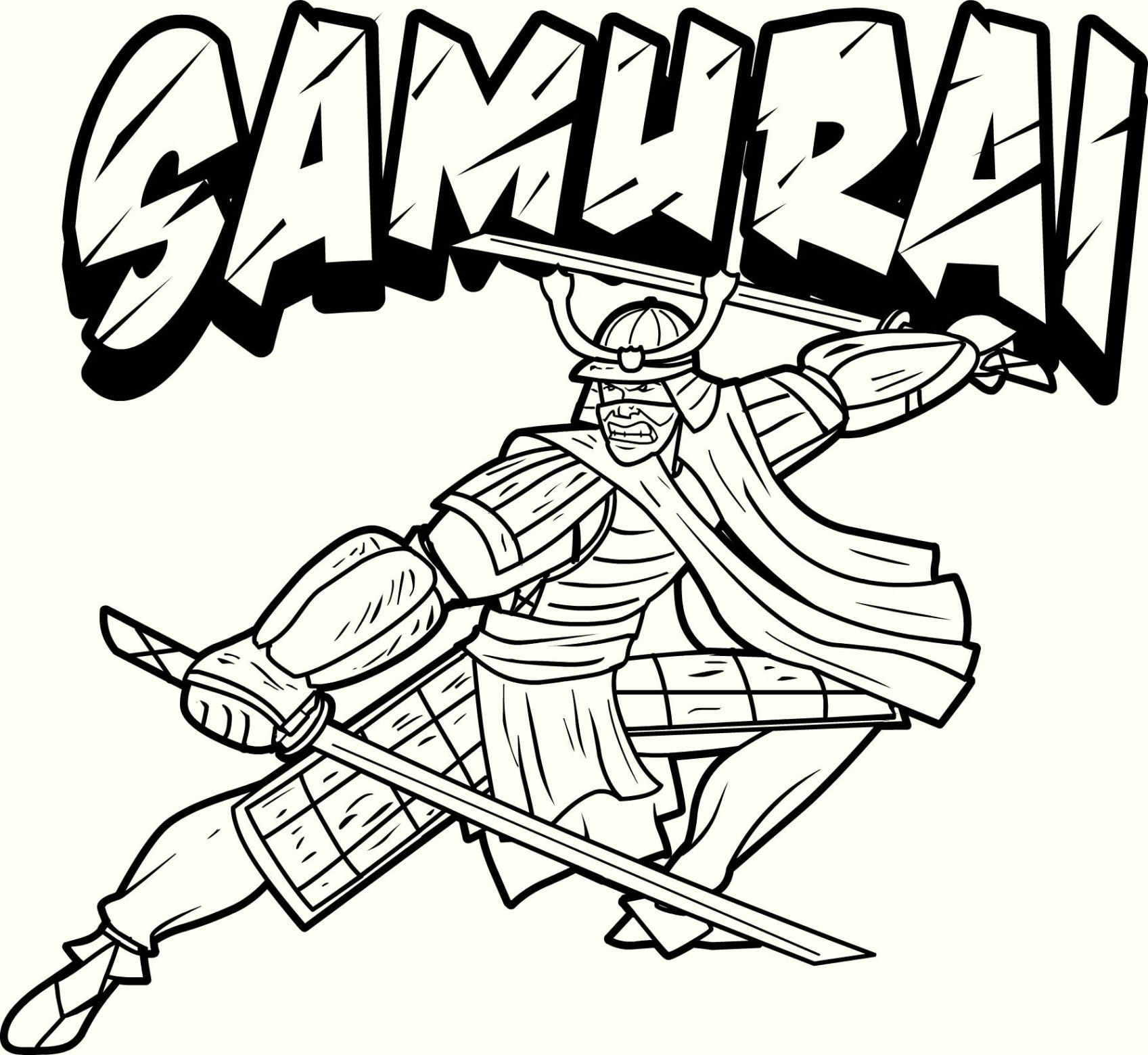 Japanese Samurai Coloring Page