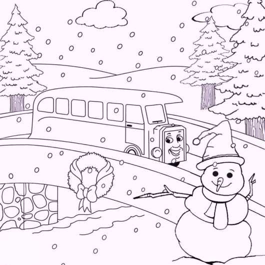 snowman-and-train-winter-games-coloring-pages