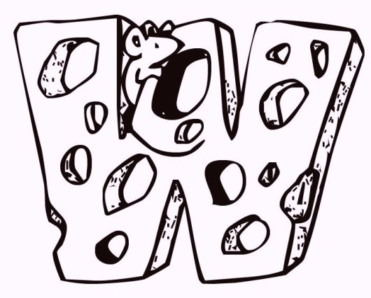 Alphabet-W-Cheese-and-Mouse-coloring-pages